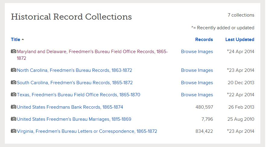 Freedmens Bureau Records Online